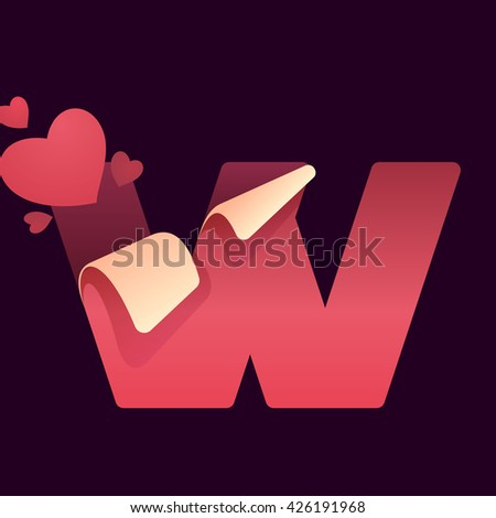 W letter with paper folded corner and hearts. Vector paper style typeface for st. Valentine's day. Red letter icon for card, app icon, corporate identity, label or poster. - stock vector