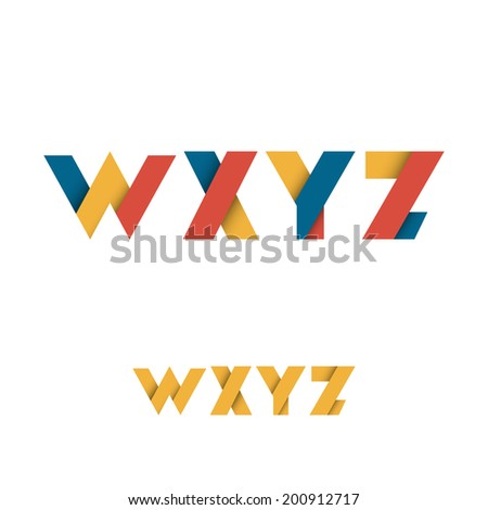 W X Y Z Modern Colored Layered Font or Alphabet - Vector Illustration