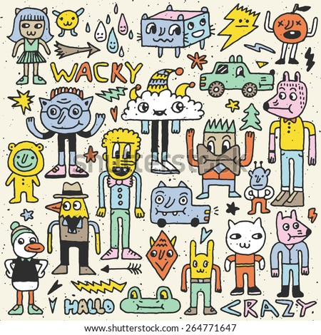 Wacky crazy colorful doodles set 4. Vector illustration. Hand drawn.