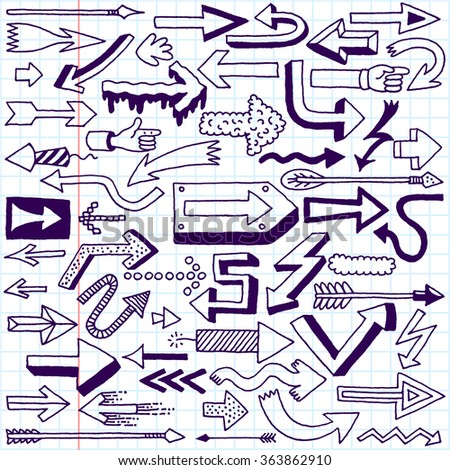 Wacky Doodle Arrows Collection. Vector Hand Drawn Illustration. School Notebook.