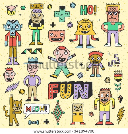 Wacky Funny Fantastic Doodle Characters Set 2. Vector Hand Drawn Color Illustration. - stock vector