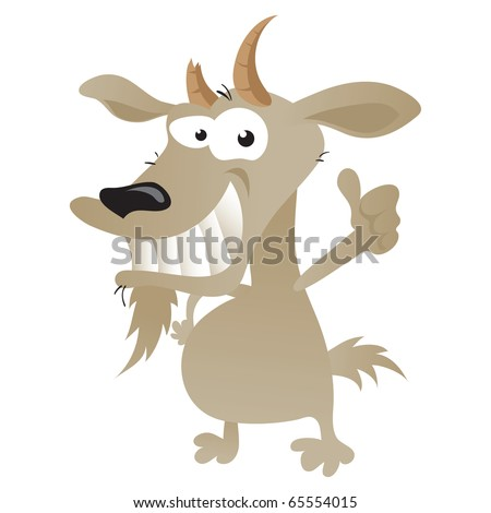 Wacky goat cartoon character giving a thumbs-up to the audience. - stock vector