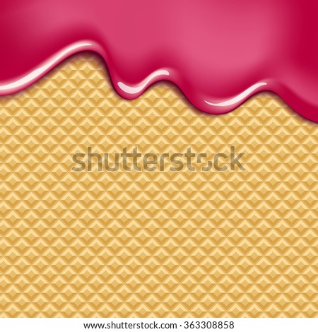 Wafer and flowing white chocolate, cream or yogurt - vector background. - stock vector