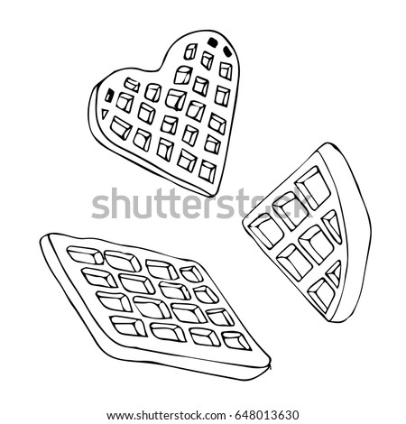 Waffle on white background illustration doodle stock for Waffle coloring page