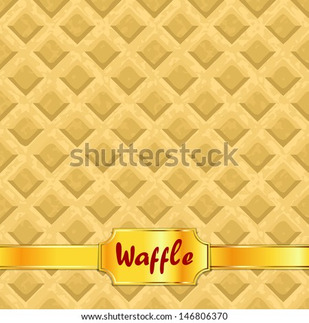 Waffles pattern seamless texture with gold ribbon. Vector illustration - stock vector