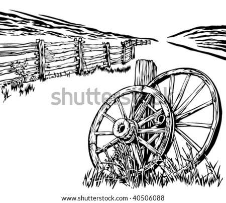 Wagon wheels and rustic fence - stock vector