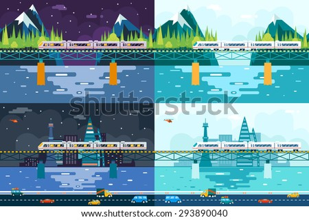 Wagons Bridge over River Tourism and Journey Symbol Railroad Train Travel Concept on Stylish Mountain City Day Night Sky Background Flat Design  - stock vector