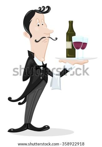 Waiter - stock vector
