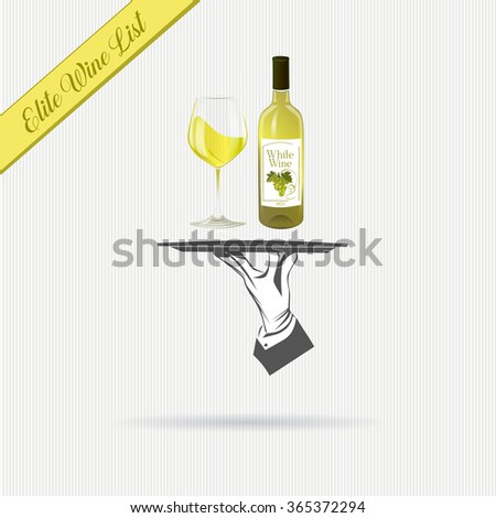 Waiter/butler hand holds a tray with a bottle of white wine and glass vector illustration isolated. Classic banner for restaurant/cafe menu and also wine list. Great design for catering. - stock vector
