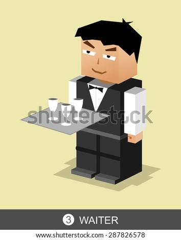 Waiter character illustration. Waiter profession illustration. - stock vector