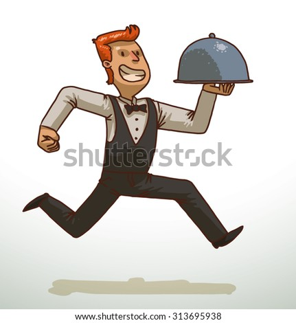 Waiter fast running and holding a cloche, vector - stock vector