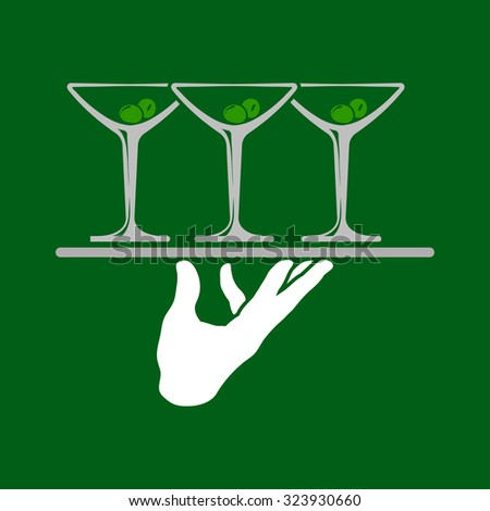 Waiter hand holding tray with martini glasses icon over green background. Vector illustration. - stock vector