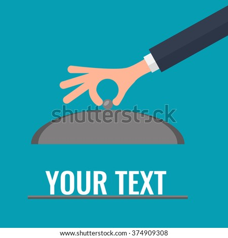 Waiter hand with cloche lid cover. Open serve plate flat design vector illustration. - stock vector