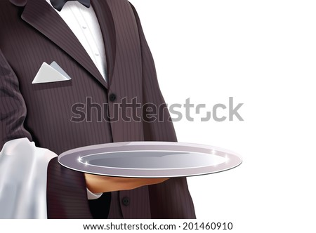 Waiter holding empty silver tray, isolated - stock vector