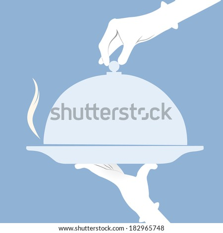 Waiter holding empty tray over a blue background - stock vector