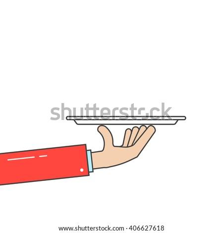 waiter holding plate in linear hand. concept of hotel dine, haute cuisine, salver, worker, event, breakfast, butler arm, platter. flat style trend modern design vector illustration on white background - stock vector