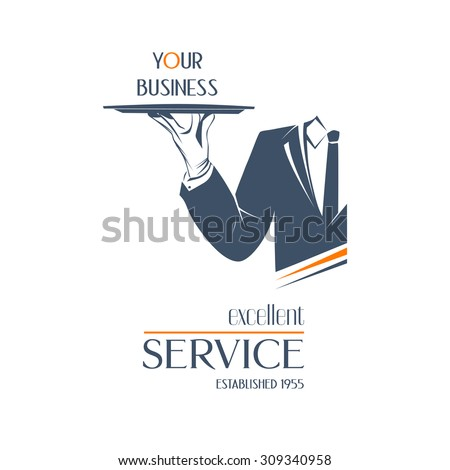 Waiter holds a tray over white background. Simple vector illustration logo, isolated. Excellent service sign. Classic banner or label for restaurants, cafe and any business.  - stock vector