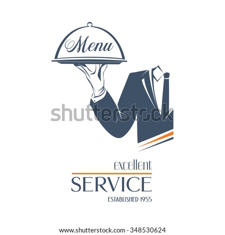 Waiter holds a tray with sign Menu over white background. Simple illustration vector logo, isolated. Excellent service sign. Classic banner or label for restaurants, cafe and any business.  - stock vector