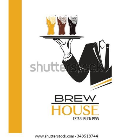 Waiter holds a tray with three pints of cold beer vector isolated. Classic banner or logo for restaurants, cafes or any bar and pub. Brew house sign. Perfect design for pub menu. Brewery poster. - stock vector
