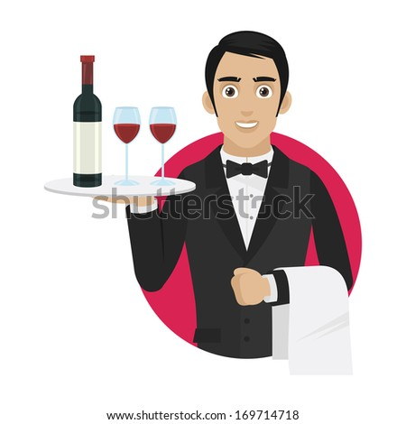Waiter holds tray with wine and glasses - stock vector