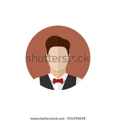 Waiter icon isolated on a white background. Butler icon. Flat style vector illustration - stock vector