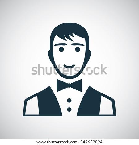 waiter icon, on white background  - stock vector