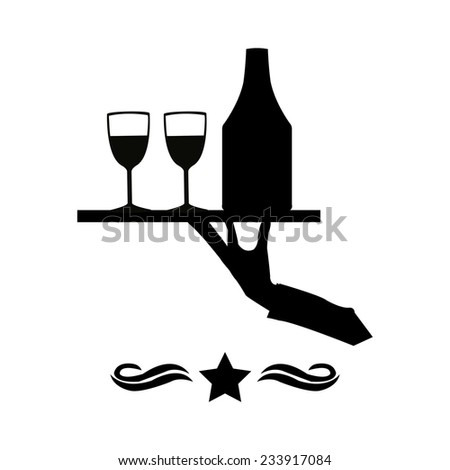 waiter illustration over white color background - stock vector