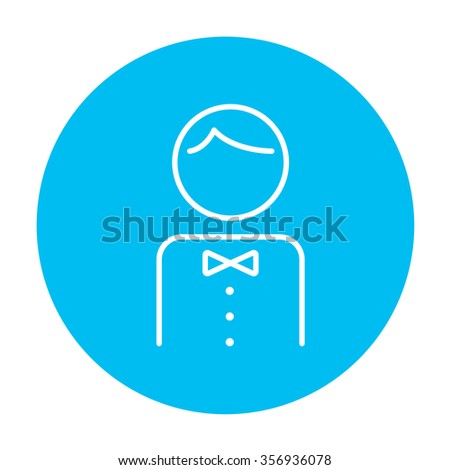 Waiter line icon for web, mobile and infographics. Vector white icon on the light blue circle isolated on white background. - stock vector