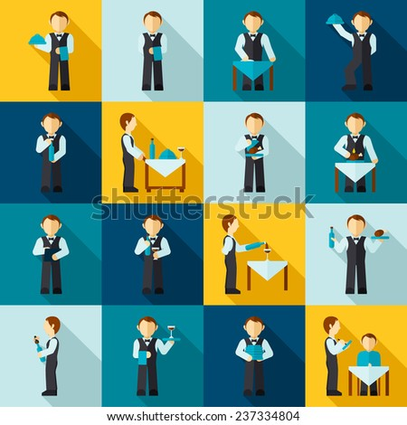 Waiter man avatars in cafe restaurant icon flat set isolated vector illustration - stock vector