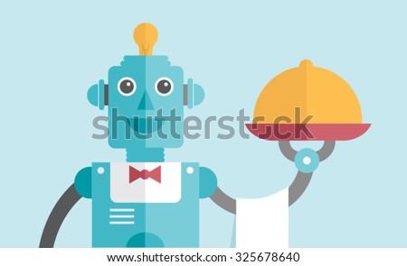Waiter Robot - stock vector
