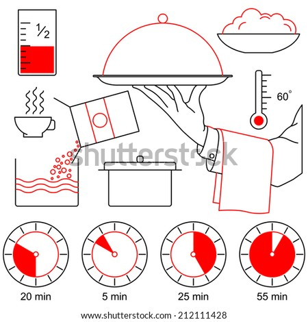 Waiter's hand with salver covered with metal dome and cooking icons - stock vector