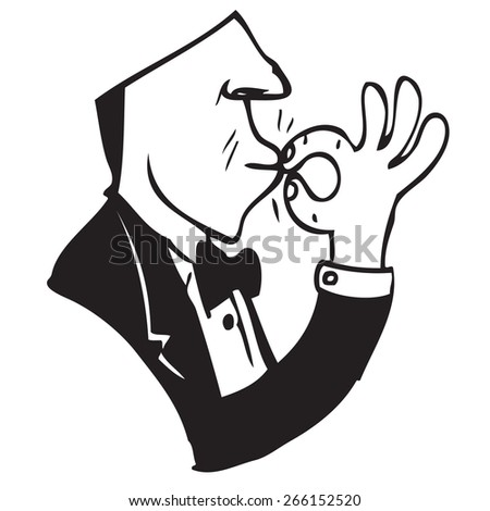 Waiter Symbol Doodle - stock vector