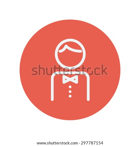 Waiter thin line icon for web and mobile minimalistic flat design. Vector white icon inside the red circle - stock vector