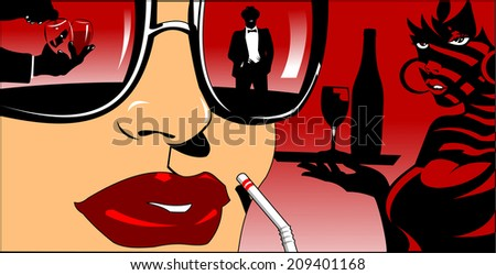 waiter with a bottle of wine and a girl with a cocktail, illustration - stock vector
