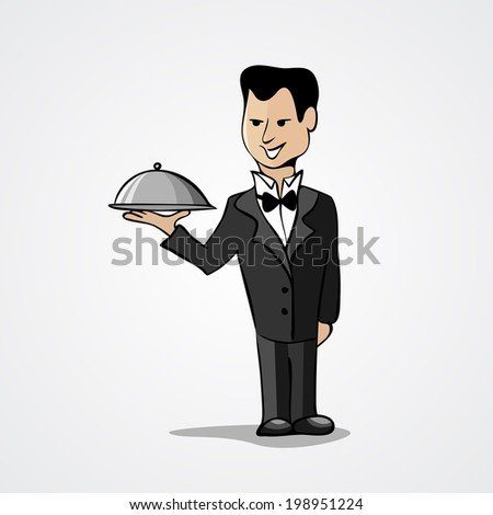 Waiter with a tray isolated on white background. Vector illustration - stock vector