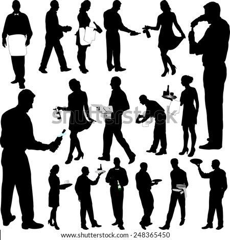 waiters and waitresses big collection - vector - stock vector