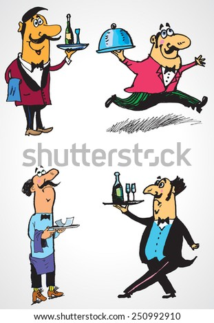 Waiters. Vector set of characters. Hand-drawing cartoon - stock vector