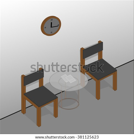 Waiting area design. Clock, round table, chair. Vector illustration.