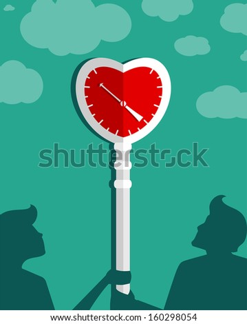 Waiting for Love Couple Background. Lovers looking at the clock. Vector EPS8 illustration. - stock vector