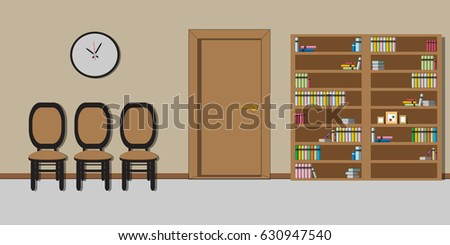 Waiting room interior furniture clock bookcase stock vector hd waiting room interior with furniture clock bookcase and chairs classic empty office in thecheapjerseys Gallery