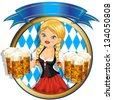 Waitress Bavaria wit beer mugs decorated-multiple levels-transparency blending effects and gradient mesh-EPS 10. - stock photo