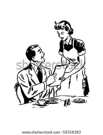 Waitress Handing Out Menu - Retro Clip Art - stock vector