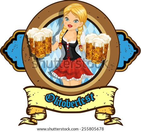Waitress with beer and pretzels-transparency blending effects and gradient mesh - stock vector