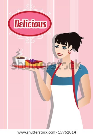 Waitress with coffee and cake. Plus extra logo. Vector. For more vectors visit my gallery. - stock vector