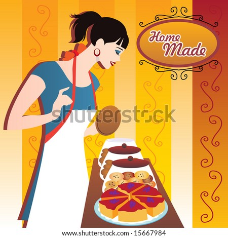 waitress with cookies and cakes. vector - stock vector
