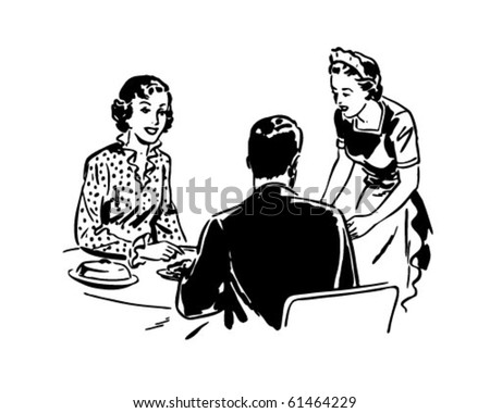 Waitress With Couple - Retro Clip Art - stock vector