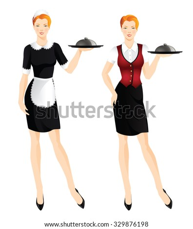 Waitress with tray. Redhead woman in french style uniform.  - stock vector