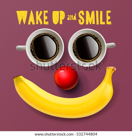 Wake up and smile, motivation background, vector illustration. - stock vector