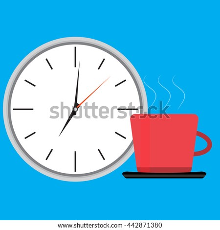 Wake up clock and cup of coffee. Wake up happy, morning waking up, get up vector illustration - stock vector