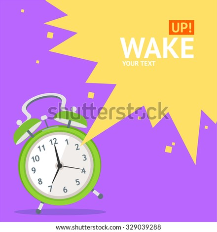 Wake Up Clock Concept Card With Space for Your Text. Flat Design. Vector illustration - stock vector